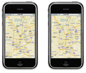 Zoom Level 10: Native app on the left. Web app on the right.